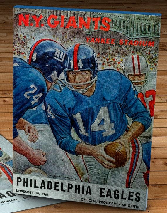12 x 16 #FB043 Canvas Gallery Wrap Philadelphia Eagles  Football Program 1954 Vintage New York Giants