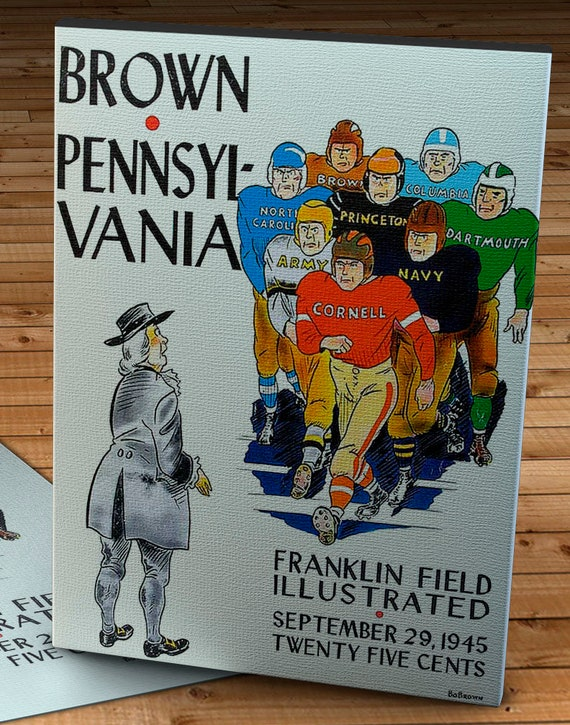Brown Football Program Cover Canvas Gallery Wrap 1945 Vintage Pennsylvania 12 x 16