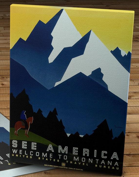 WPA Vintage American Travel Poster 18x24 1930s Montana See America
