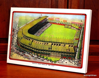 1947 Vintage Chicago Cubs Wrigley Field Post Card - Canvas Gallery Wrap    #BB056