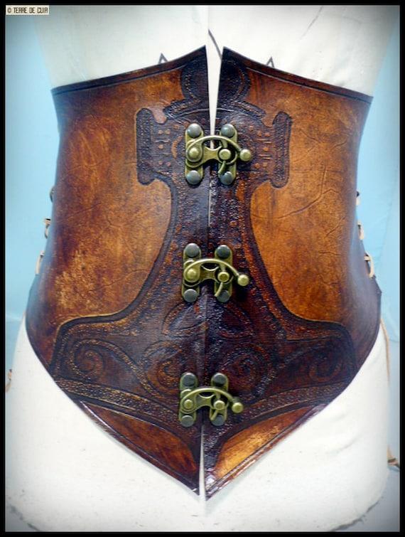 Corset Thor cuir marron vieilli tannage végétal   Etsy af4b007ce7f