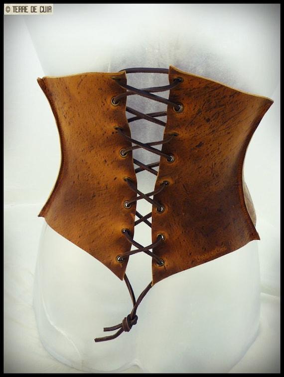 Corset ceinture cuir style médieval marron vieilli   Etsy 2c3f0dc8881