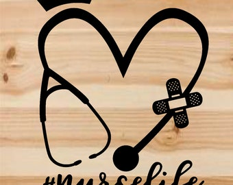 nurse life decal. nurse life. nurse decal. car decal. nurse. decal. stethoscope. rn decal. nursing. nurse gift. yeti decal. vinyl decal