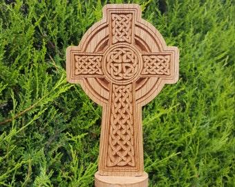 Celtic Cross carved from Oak