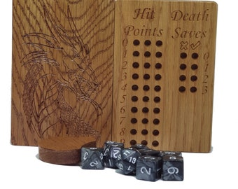 Hardwood D&D Dice Box with Integrated Trackers