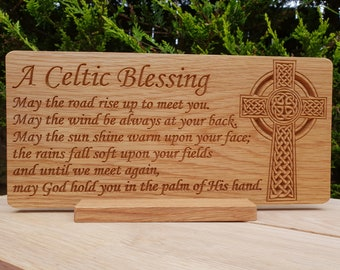 Celtic Blessing carved in Oak with Celtic Cross