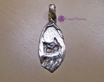 Pure silver owl with hollow eyes pendant