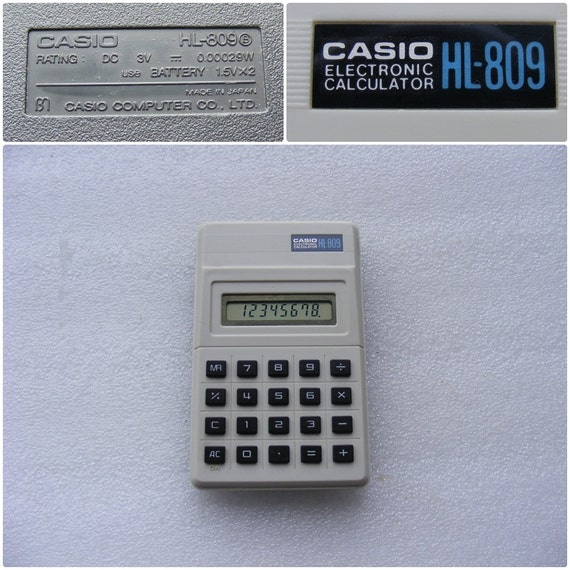 Vintage Electronic Calculator Casio HL-809 /Portable Calculator / Pocket  Calculator / Desk Accessories / Made in Japan / Collection