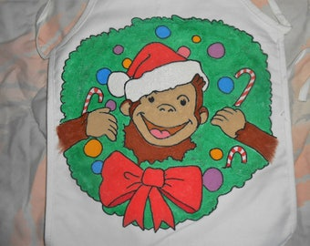 Christmas George Hand Painted Child's Apron