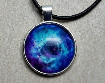 Purple & Blue Nebula - Glass Cabochon Pendant / Outer Space / Galaxy / Stars / Nebula / Gifts for Him or Her