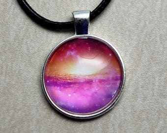 Pink Galaxy - Glass Cabochon Pendant / Outer Space / Galaxy / Stars / Nebula / Gifts for Him or Her