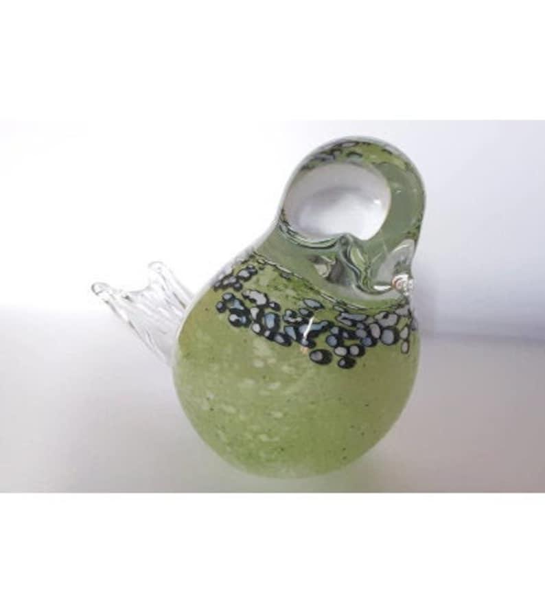 Green Glass Bird Gift Idea Figurine Ornament Collectible image 1