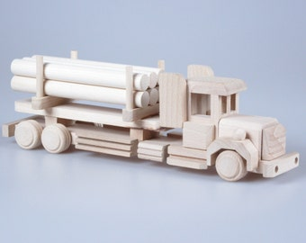 Wooden Toy Truck, Baby Toy, Wood Toy Truck, Plain Wood, Gift For Kids, Children's Toys, Montessori, Construction Toy, Eco Friendly Toy