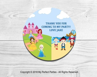 35 Personalised Boy Girl Pirate Thank You Stickers Sweet Cone Birthday Party