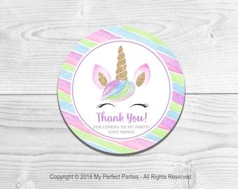 8e035bc6e Personalised Unicorn Rainbow Birthday Party, Birthday, Girl, Birthday Party  Stickers Thank You Seals - PACK OF 35