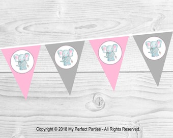 Pink Elephant Birthday Party Bunting, Banner. - 3 METERS