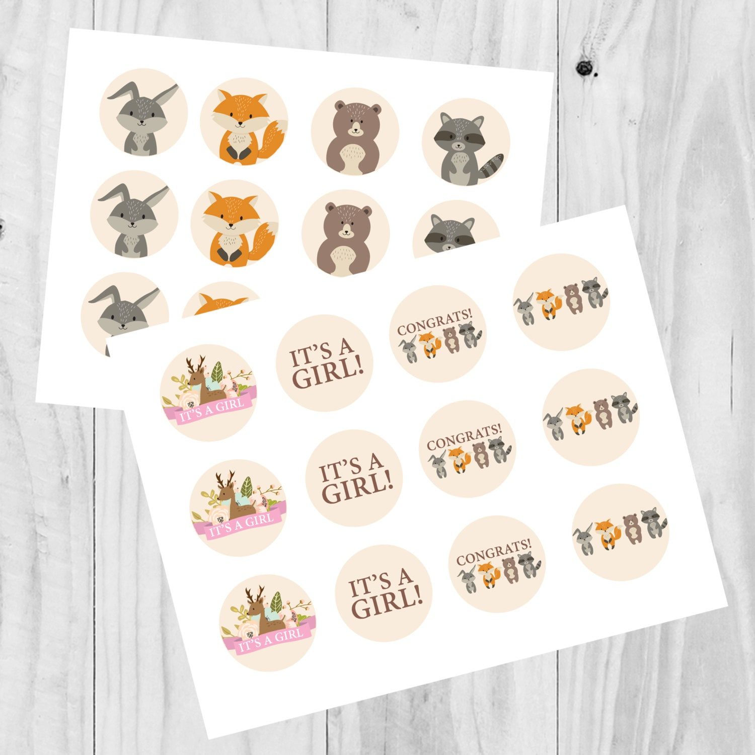 Instant Download Woodland It/'s a Girl Baby Shower Cupcake Wrappers Floral Baby Shower Woodland Decorations