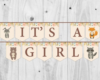 Woodland Baby Shower Banner. It's a Girl, Animals Sign, Girl Shower - Printable - INSTANT DOWNLOAD, Digital file.