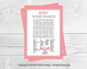 Pink Elephant, Baby Girl, Baby Shower, Baby Word Search, Wordsearch, Baby Shower Game,  INSTANT DOWNLOAD