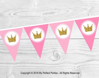 INSTANT DOWNLOAD Princess, Little Princess, Princess Birthday Party, Banner, Bunting - Decoration - Printable Birthday Party