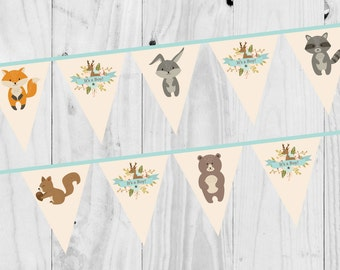 Baby Shower It's a boy Woodland Bunting, Printable, Digital Download.