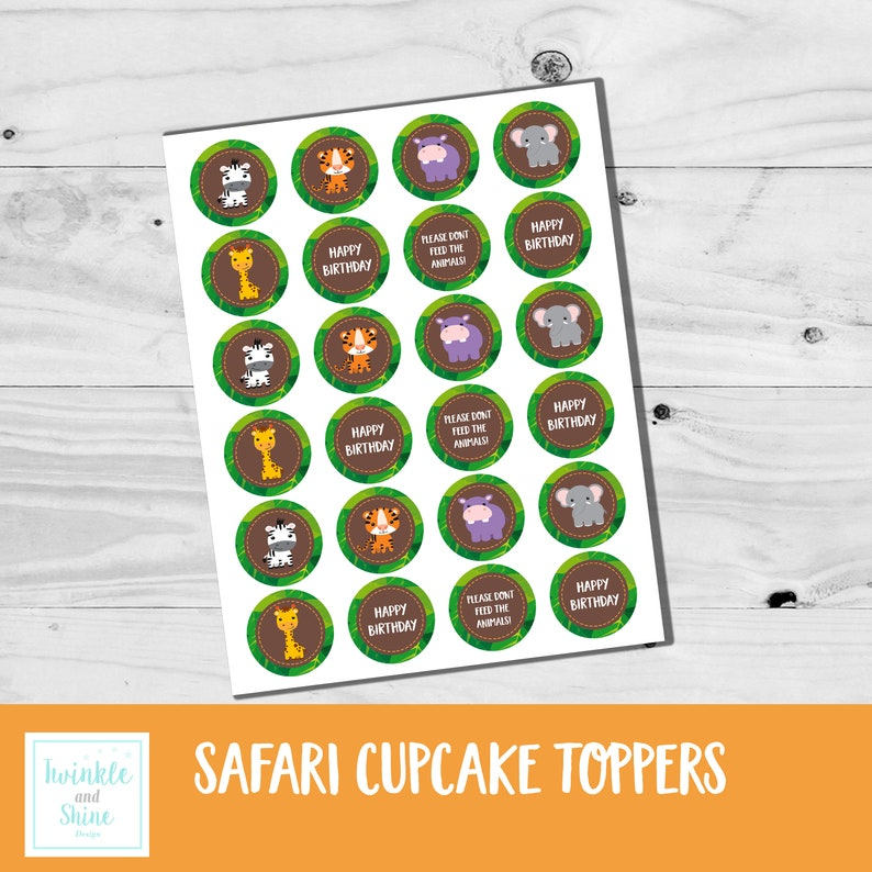 Girl Boy Printable Neutral INSTANT DOWNLOAD Cupcake Toppers Birthday Party Safari Jungle