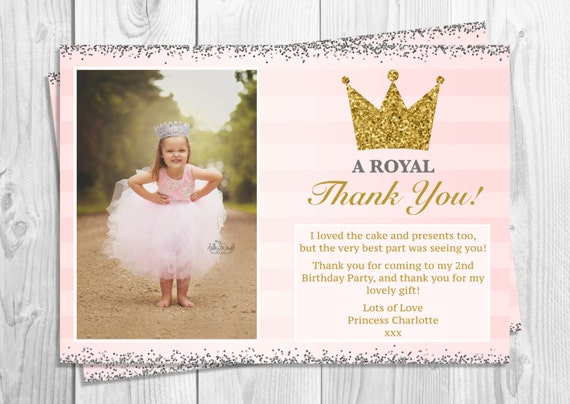 Silver /& Pink Princess Party Thank You Cards