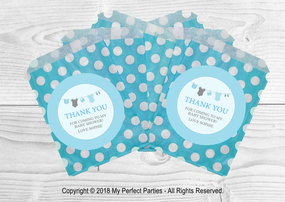 12 x Blue Washing Line Baby shower Bags /& IT/'S A BOY Stickers Favour Kit