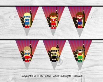 Girl Superhero Birthday Party Bunting, Banner. - 3 METERS