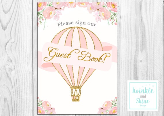 photo about Printable Hot Air Balloon known as Printable Sizzling Air Balloon Remember to Signal our Visitor ebook, Favour Signal, Little one Shower Signal, Printable. Fast Down load