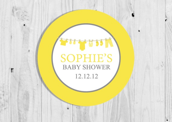 35 Yellow Elephant Neutral Baby Shower Stickers Thank You Stickers Sweet Cones