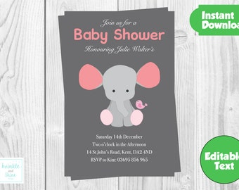 Girl Baby Shower Invitation, Pink Elephant, It's a  Girl Personalised Invitation, Instant Download, DIY Invite.