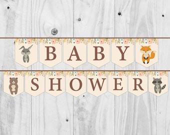 Woodland Baby Shower Banner, Girl, Boy, Neutral, Woodland Banner - Printable - INSTANT DOWNLOAD, Digital file.