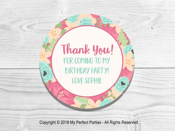 N468 Pink Flower Florist Pretty Personalised Stickers Party Thank You Seals