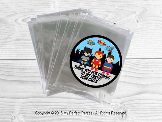 24 X Pegatinas superhéroe Personalizado Fiesta de Cumpleaños bolsas cono dulce gracias