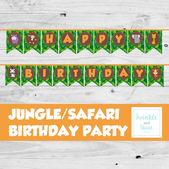 Safari Happy Birthday Banner Decoration Printable Jungle Theme Birthday Party Decor Gender Neutral Shower Digital Download