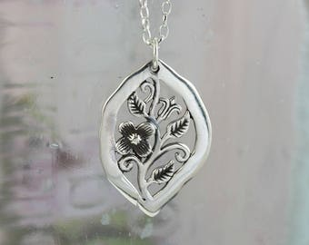 Secret Garden Sterling Silver Flower Design Pendant with Chain / Nature / Silver Jewelry