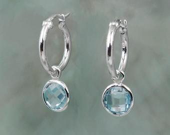 Silver Hoop Earrings With Blue Topaz Drops, Huggie Hoops, Simple Hoop, Natural Stone Ear Charm, Birthstone Earring
