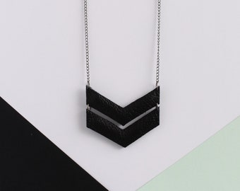 Black Leather Chevron Necklace. Arrow Necklace. Geometric Necklace.