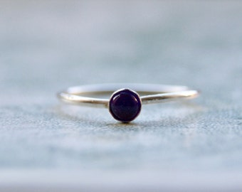 Skinny 925 Sterling Silver Dark Purple Amethyst Solitaire Stacking Ring