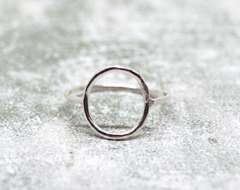 Handmade Sterling Silver Open Circle Ring, Silver Negative Space Ring, Sterling Silver Skinny Ring, Minimalist Circle Ring, Dainty Ring