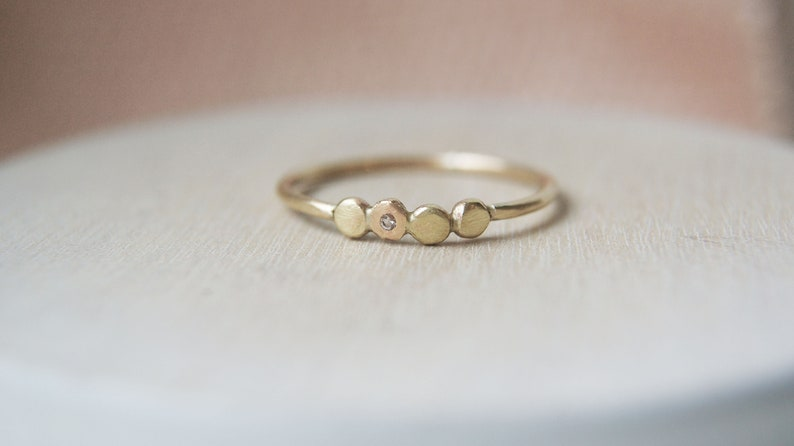 The Quartet Solid 9ct Gold Ring with White Topaz
