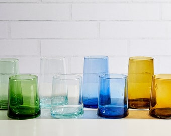 Recycled Moroccan Handblown Cone Glass Set  (set of 6)