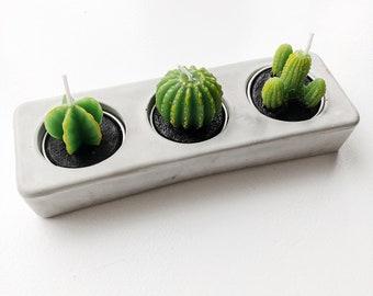 Photophore carré en béton | Support de bougie | Porte-bougie de ciment | Béton décoration | Decor industriel | Décor moderne