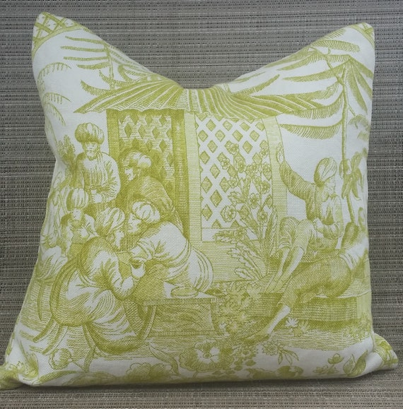 Excellent Zippered Pillow Cover Ottoman Empire Lime Green White Home Decor Linen Forskolin Free Trial Chair Design Images Forskolin Free Trialorg
