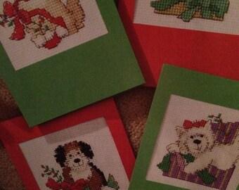 Christmas 4x Pet Cards , Cat & Dogs Cross Stitch Pattern