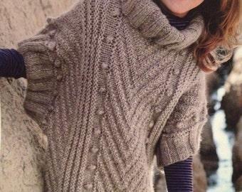 Girls Knitted Poncho Sweater Knitting Pattern