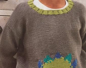 Children's Dinosaur Jumper age 2-6 years Knitting Pattern