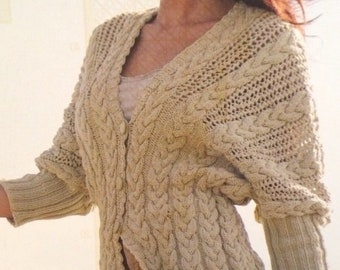 Ladies Batwing Cardigan Knitting Pattern