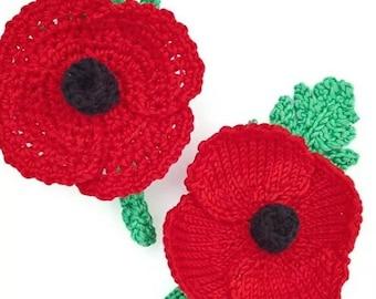 Remembrance Poppy knitting & Crochet Pattern